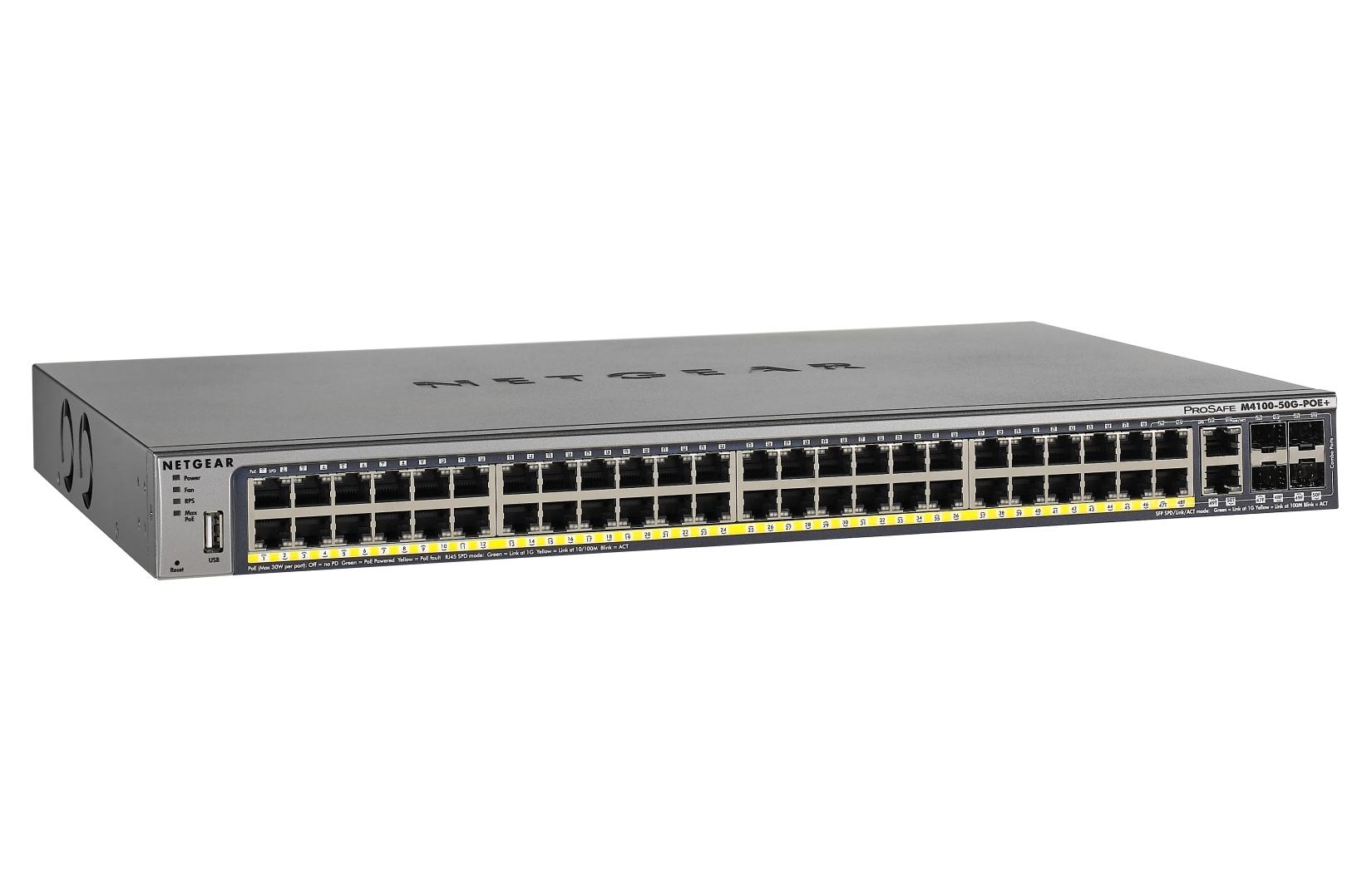 Netgear M4100-50G-POE+ Managed L2+/L3 Gigabit Ethernet (10/100/1000) Grey Power over Ethernet (PoE)