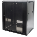 "Intellinet Network Cabinet, Wall Mount (Standard), 12U, 450mm Deep, Black, Flatpack, Max 60kg, Metal & Glass Door, Back Panel, Removeable Sides, Suitable also for use on a desk or floor, 19"", Three Year Warranty"