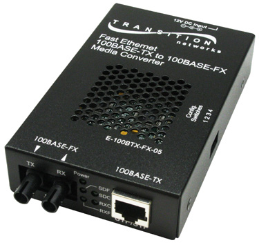 Transition Networks E-100BTX-FX-05 network media converter 100 Mbit/s 1300 nm Black