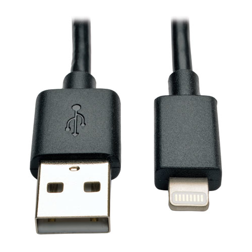 Tripp Lite USB Sync / Charge Cable with Lightning Connector iPhone iPod iPad - Black, 25.4 cm (10-in.)