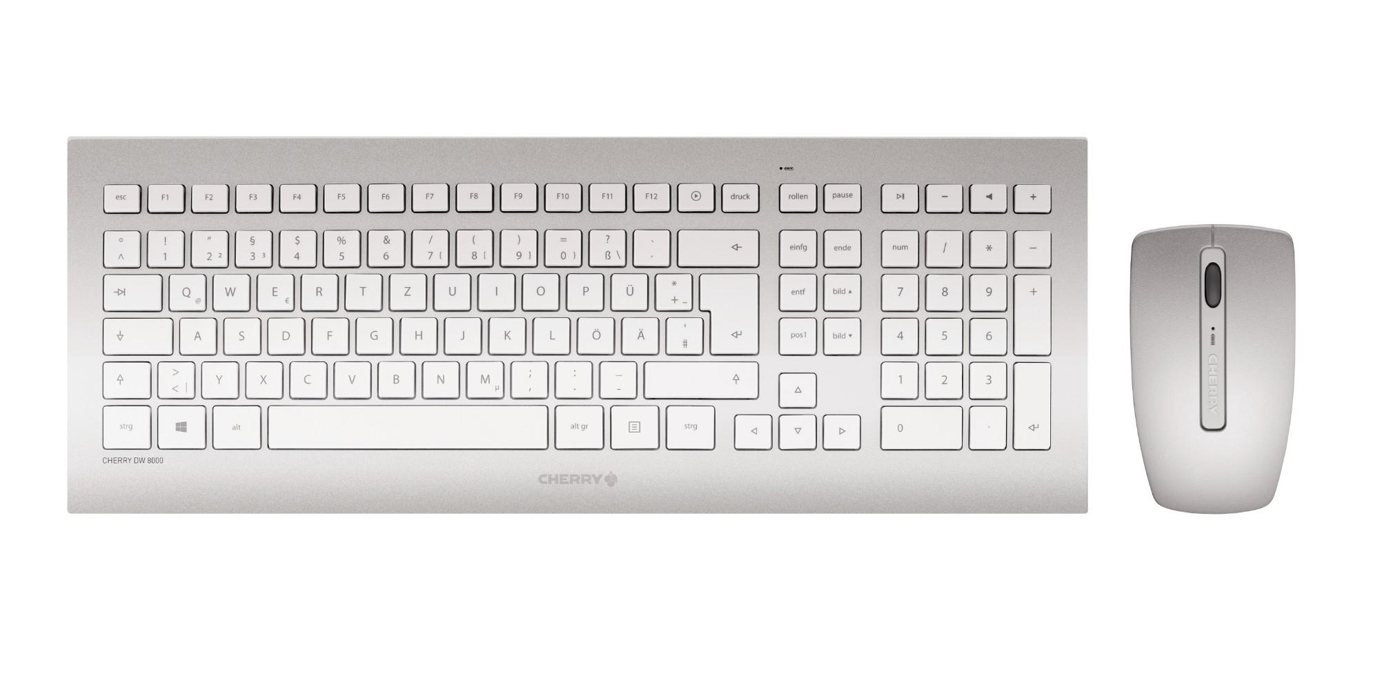 CHERRY DW 8000 keyboard RF Wireless QWERTY US English Silver, White