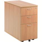 Jemini 3 Drawer Desk High Pedestal 800 Beech