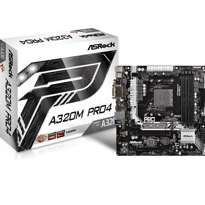 Asrock A320M Pro4 AMD Socket AM4 Ryzen Micro ATX DDR4 D-Sub/DVI-D/HDMI M.2/Ultra M.2 USB 3.1/Type-C