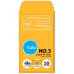 TUDOR NO.3 POCKET ENVELOPE MOIST SEAL 95 X 55MM GOLD PACK 50