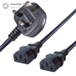 CONNEkT Gear 2.5m UK Mains Power Splitter Cable UK Plug to 2 x C13 Sockets