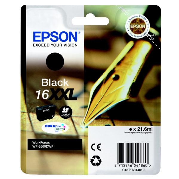 Epson C13T16814010 (16XXL) Ink cartridge black, 1000 pages, 22ml