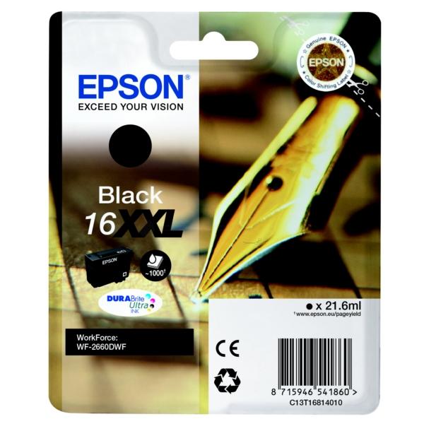 Epson C13T16814012 (16XXL) Ink cartridge black, 1000 pages, 22ml