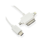 Microconnect USB C/Lightning/30-pin/MicroUSB, 1 m mobile phone cable Micro-USB B/Apple 30-p/Lightning White