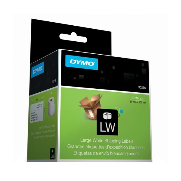 DYMO SD30256 Large Shipping, Paper/White, 59mm x 102mm, 1 Roll/Box, 300 Labels/Roll