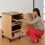 Metroplan MM80B Multi Media Cabinet in Beech Projector Multimedia trolley Brown