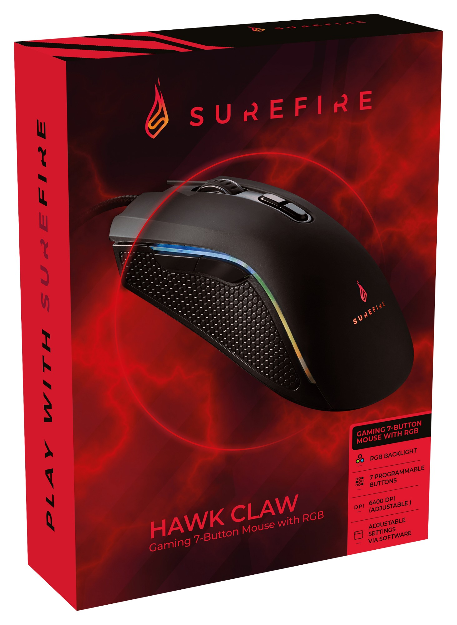 SureFire Hawk Claw mouse Right-hand USB Type-A Optical 6400 DPI