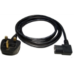 UK Mains to Right-Angled IEC C13 Kettle 1.8m Black Power Cable