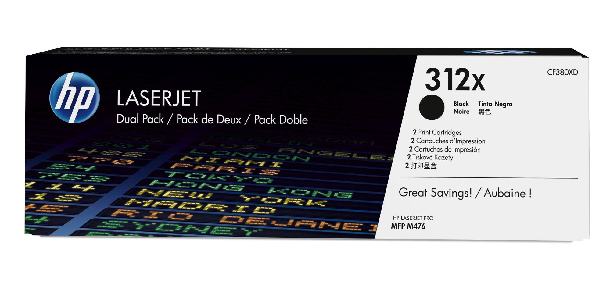 HP 312X Origineel Zwart 2 stuk(s)