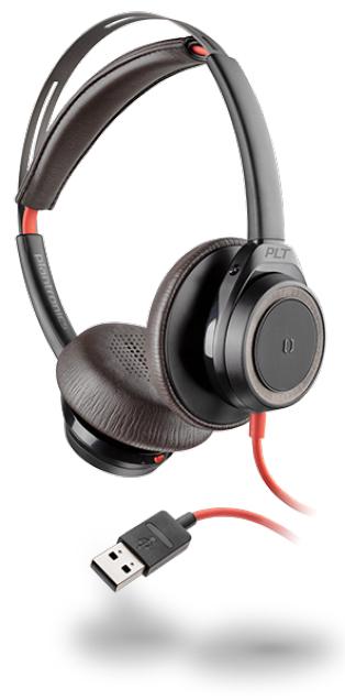 POLY Blackwire 7225 Auriculares Diadema Negro, Rojo