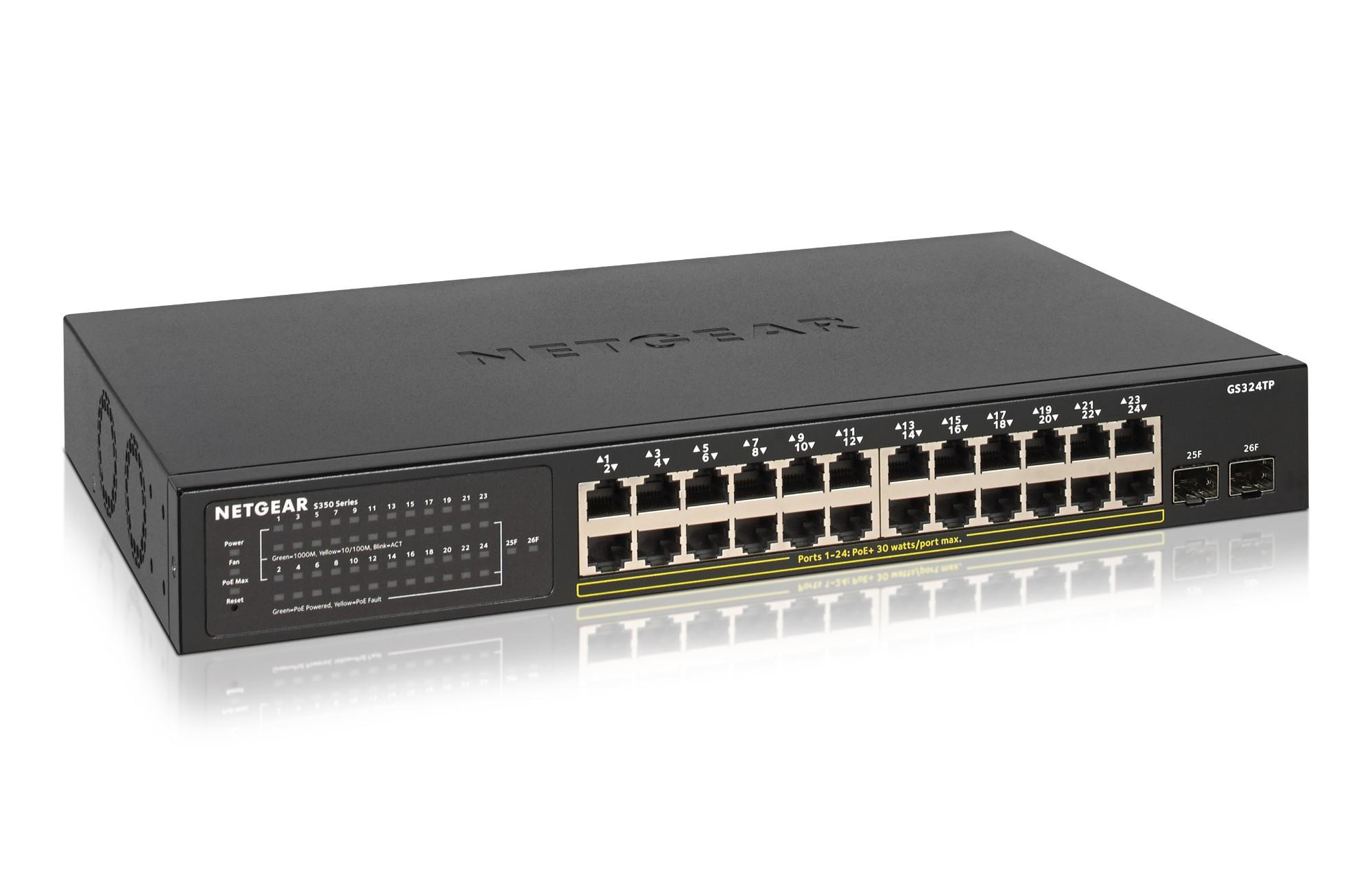 Netgear GS324TP Gestionado Gigabit Ethernet (10/100/1000) Negro Energía sobre Ethernet (PoE)