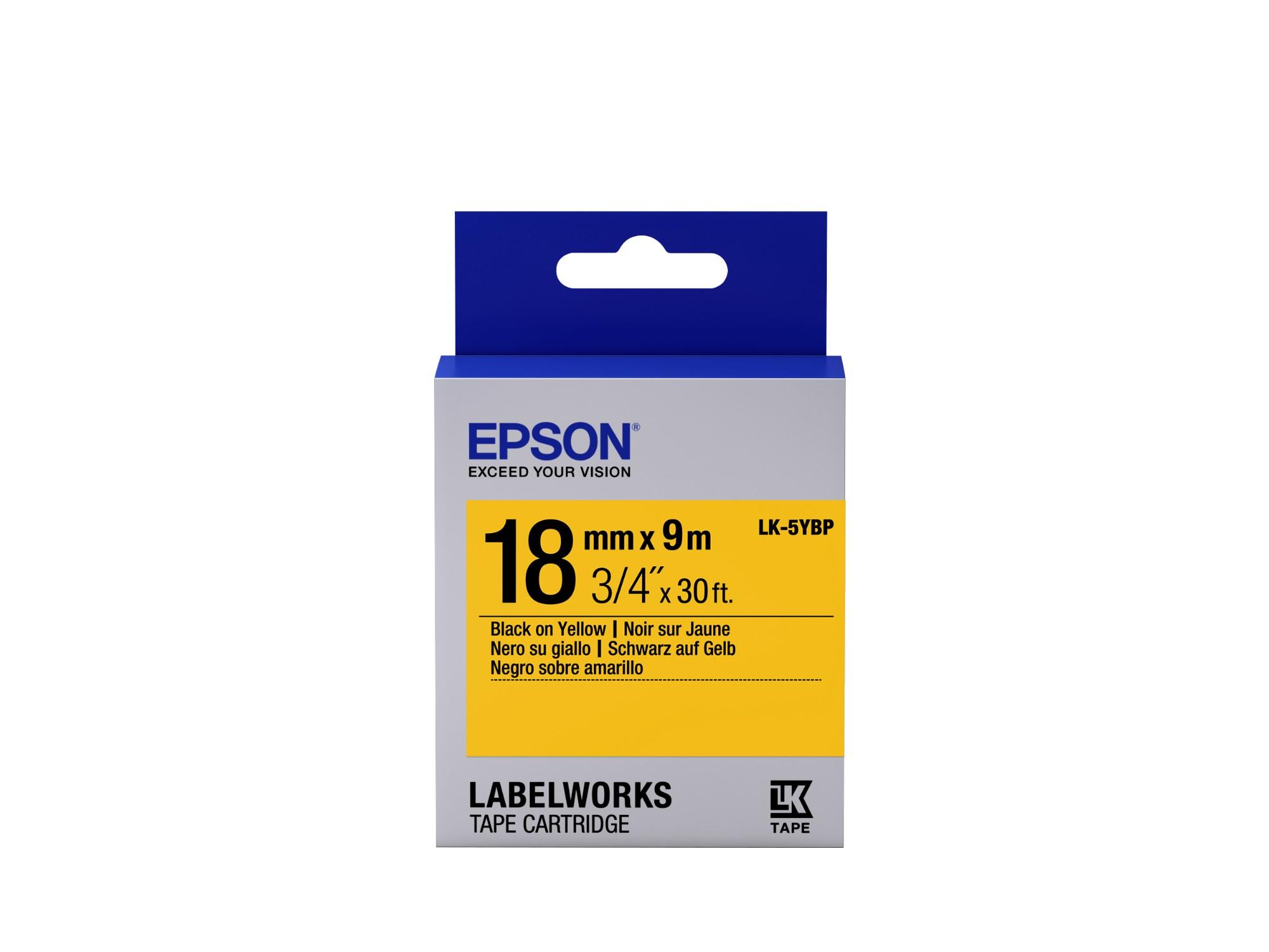 Epson Pastel Tape - LK-5YBP Pastel Blk/Yell 18/9