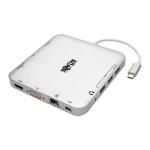 Tripp Lite USB-C Laptop Docking Station w/ mDP, HDMI, VGA, GbE, 4K @ 30 Hz, Thunderbolt 3 - USB-A, PD Charging, Silver