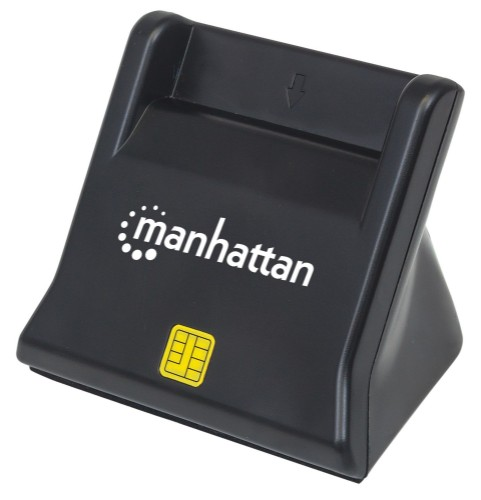 Manhattan Smart/SIM Card Reader, USB 2.0, Desktop Standing, Friction Type compatible, Cable 86cm, Black, Blister