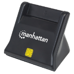 Manhattan USB-A Smart/SIM Card Reader, 480 Mbps (USB 2.0), Desktop Standing, Friction Type compatible, Cable 86cm, Black, Blister