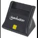 Manhattan USB-A Smart/SIM Card Reader, 480 Mbps (USB 2.0), Desktop Standing, Friction Type compatible, Cable 86cm, Black, Blister