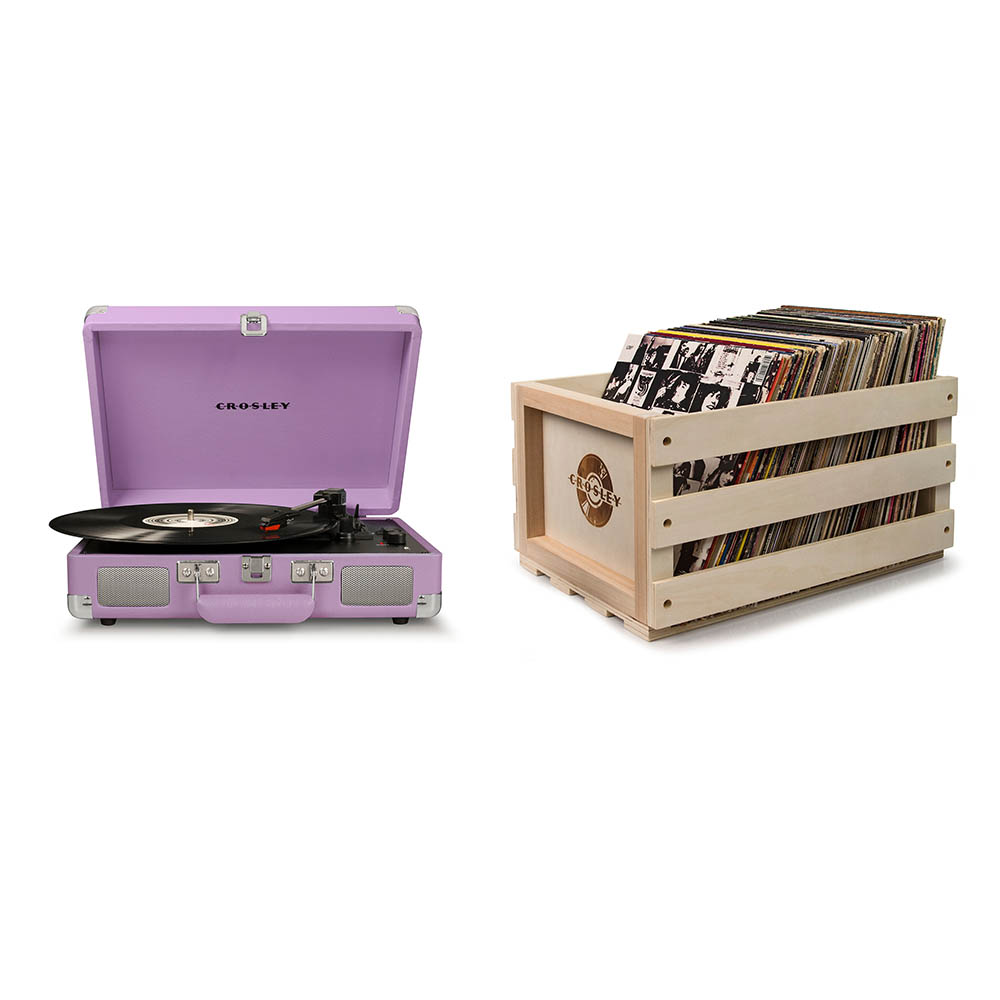 Crosley Cruiser Deluxe Portable Turntable - Lavender + Free Record Storage Crate