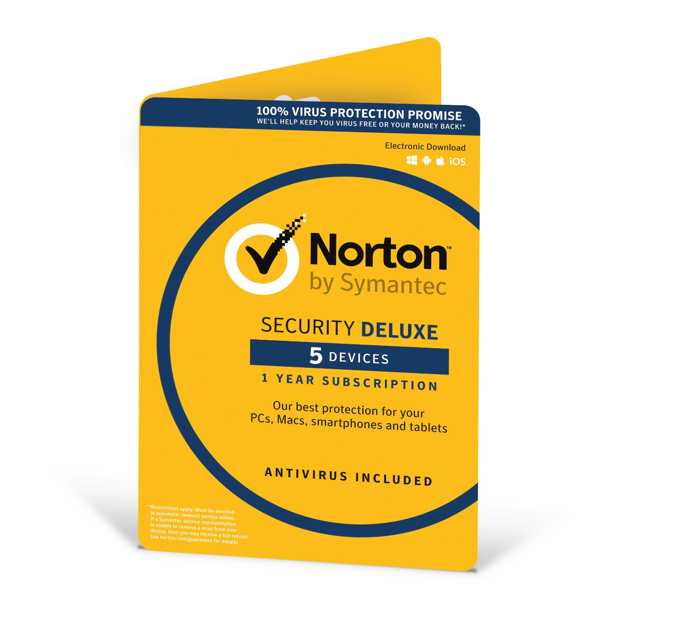 SYMANTEC NORTON SECURITY DELUXE 3.0 IN 1 USER 5 DEVICES 12MO CARD DVDSLV RET
