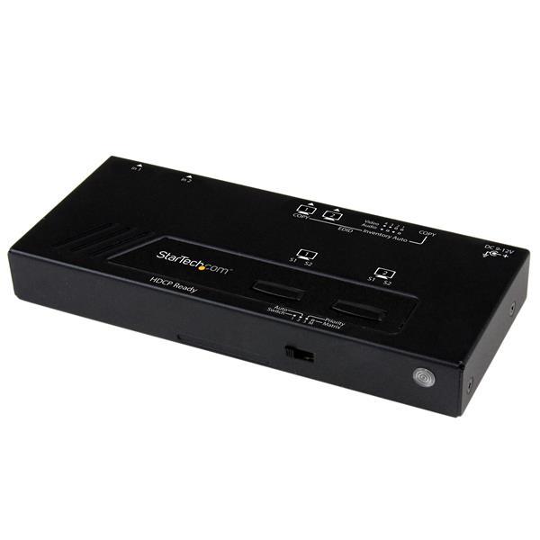 StarTech.com Switch Matricial HDMI de 2x2 con Conmutado Automático y Prioritario - Conmutador Matrix 1080p