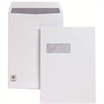 Plus Fabric Envelopes Pocket Press Seal Window 120gsm C4 White [Pack 250]