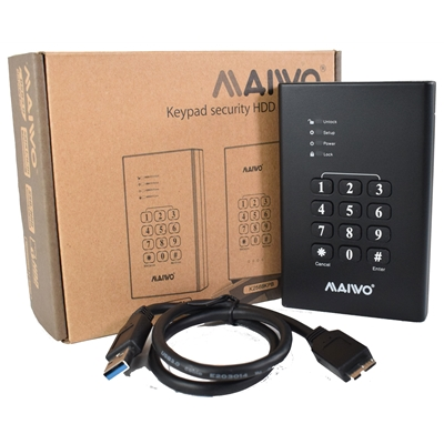 "MAIWO USB3.0 2.5"" Keypad Encrypted Hard Drive Enclosure - Black"