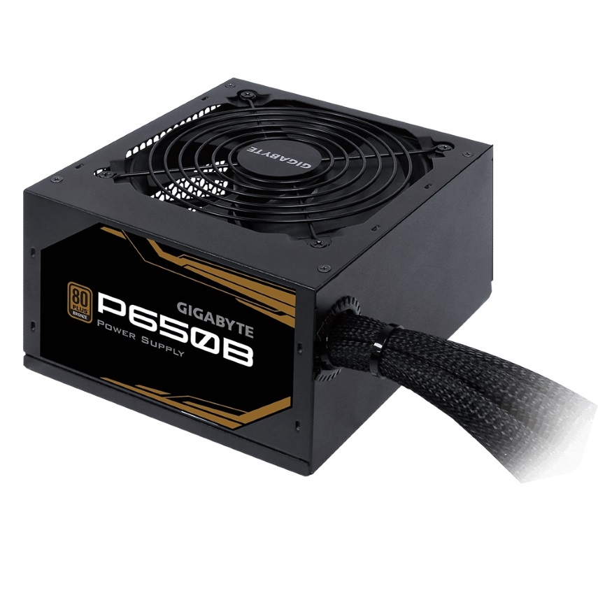 Gigabyte P650B 650W ATX PSU Power Supply 80+ Bronze 89% 120mm Fan Mesh Braided Cables Single +12V Rail Japane