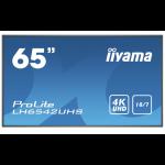 "iiyama LH6542UHS-B1 signage display Digital signage flat panel 163.8 cm (64.5"") IPS 4K Ultra HD Black Built-in processor Android 8.0"