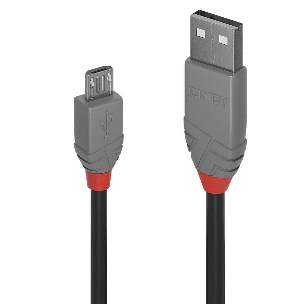 Lindy Anthra Line USB cable 3 m USB 2.0 USB A Micro-USB B Black, Grey
