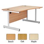 Jemini Oak/Silver 1600mm Right Hand Cantilever Wave Desk KF838097
