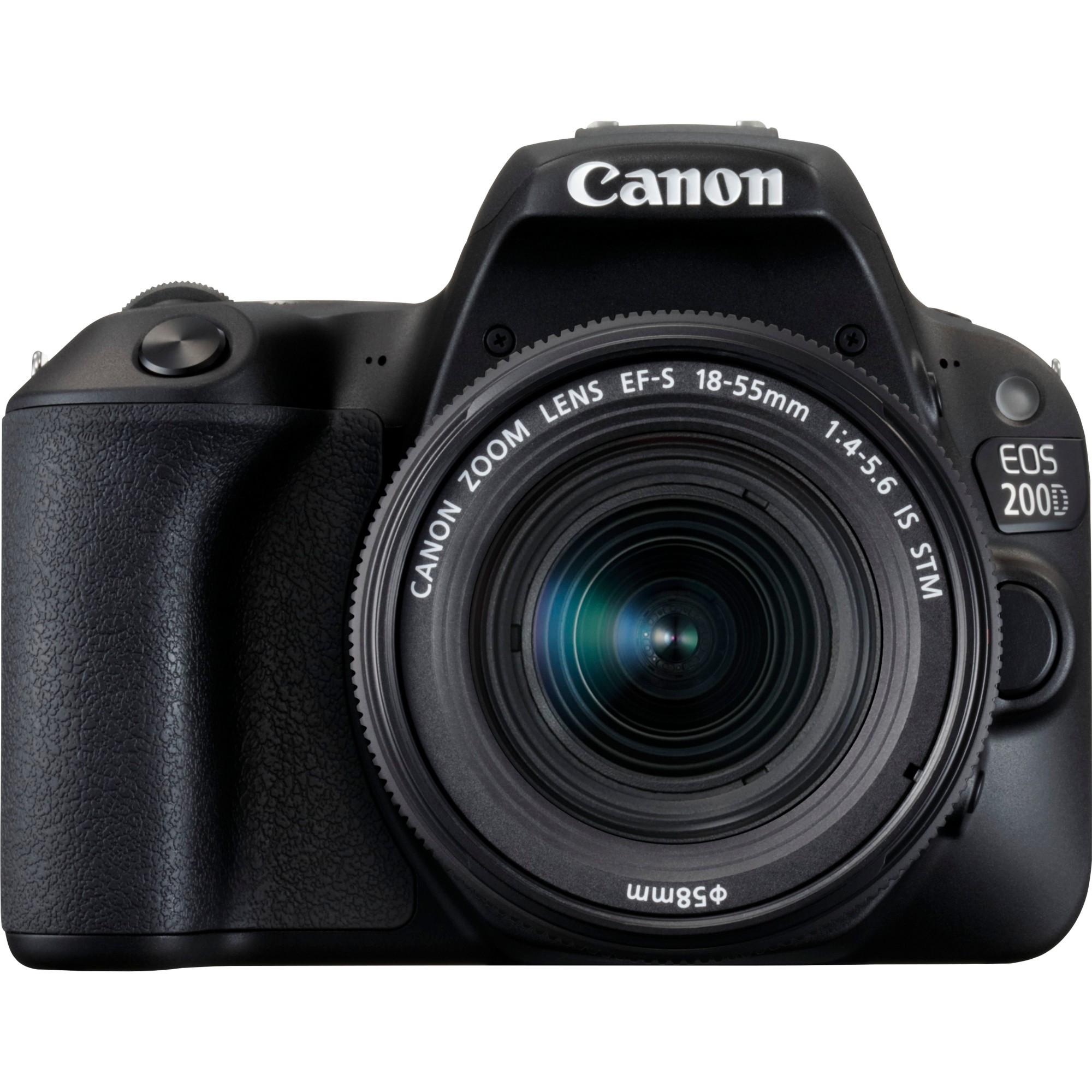 Canon EOS 200D + EF-S 18-55mm f/4-5.6 IS STM SLR Camera Kit 24.2MP CMOS 6000 x 4000pixels Black