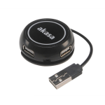 Akasa Connect4C 4-IN-1 USB 2.0 480 Mbit/s Black