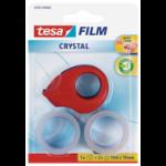TESA film Mini Crystal Dispenser w/2 rolls 19mmx10M Red
