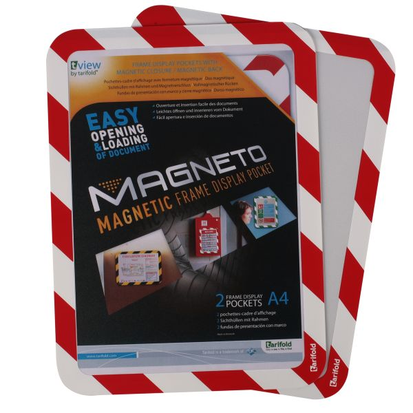 Tarifold Magneto A4 Safety Frames Magnetic Red/White PK2