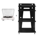 Crosley SOHO Turntable Stand - Black & Crosley Auto T400 Turntable - White Bundle