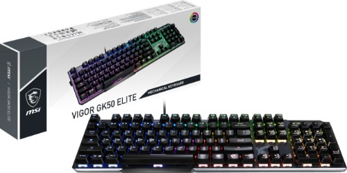 MSI VIGOR GK50 ELITE Mechanical Gaming Keyboard 'UK-Layout, KAILH Box White Switches, Per Key RGB Mystic Light LED Backlit, Tactile, Floating Key Design, Water Resistant'