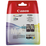 Canon 2970B010 (PG-510 CL 511) Printhead cartridge multi pack, 220 pages, 9ml, Pack qty 2