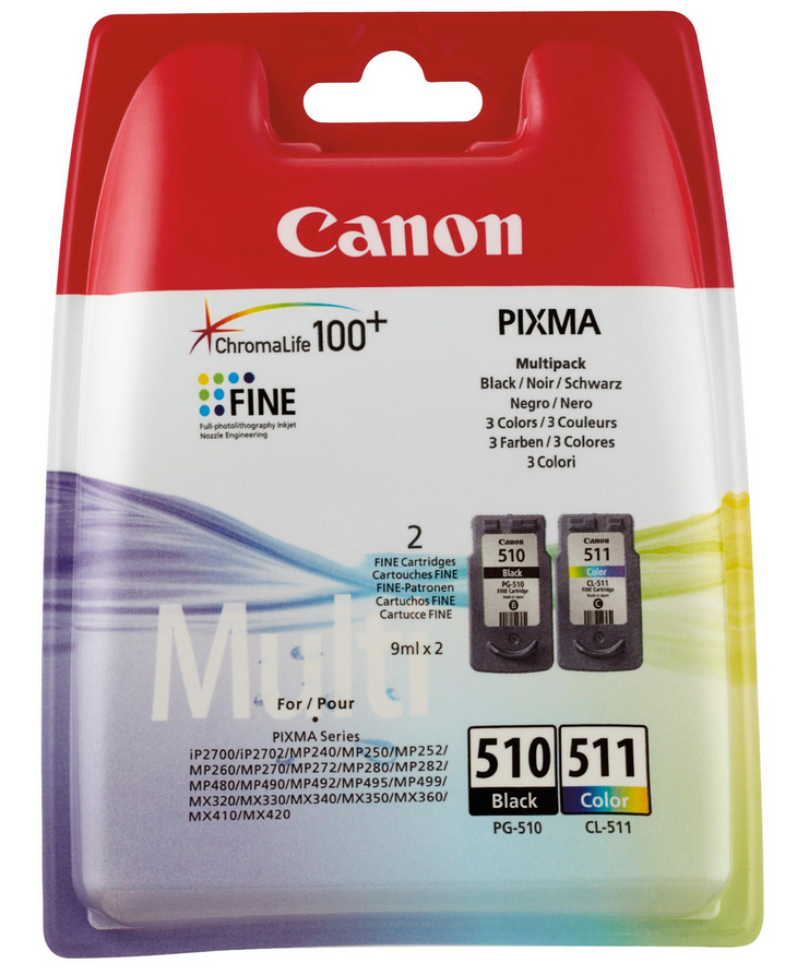 Canon PG-510/CL-511 Multi Pack Original Negro, Cian, Magenta, Amarillo 2 pieza(s)