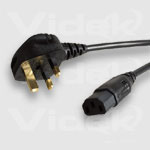 Videk R/A IEC F to UK Mains Plug (5A) Black 2Mtr power cable 2 m