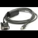 Zebra CBA-R10-S07ZBR cable de serie Negro 2,13 m DB9 RJ-45