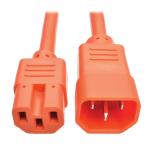 Tripp Lite Heavy-Duty Computer Power Cord, 15A, 14 AWG (IEC-320-C14 to IEC-320-C15), Orange, 0.91 m
