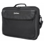 """Manhattan Cambridge Laptop Bag 15.6"""", Clamshell Design, Black, LOW COST, Accessories Pocket, Document Compartment on Back, Shoulder Strap (removable), Equivalent to Targus TAR300, Notebook Case, Three Year Warranty"""