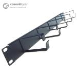 CONNEkT Gear 5 Ring 19 Inch (1U) Rack Mount Cable Management Bar - 85mm Loop Depth - Black