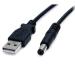 StarTech.com Cable Adaptador 2m USB A Macho a Conector Coaxial Barrel Alimentación Corriente Tipo M 5,5mm 5V DC