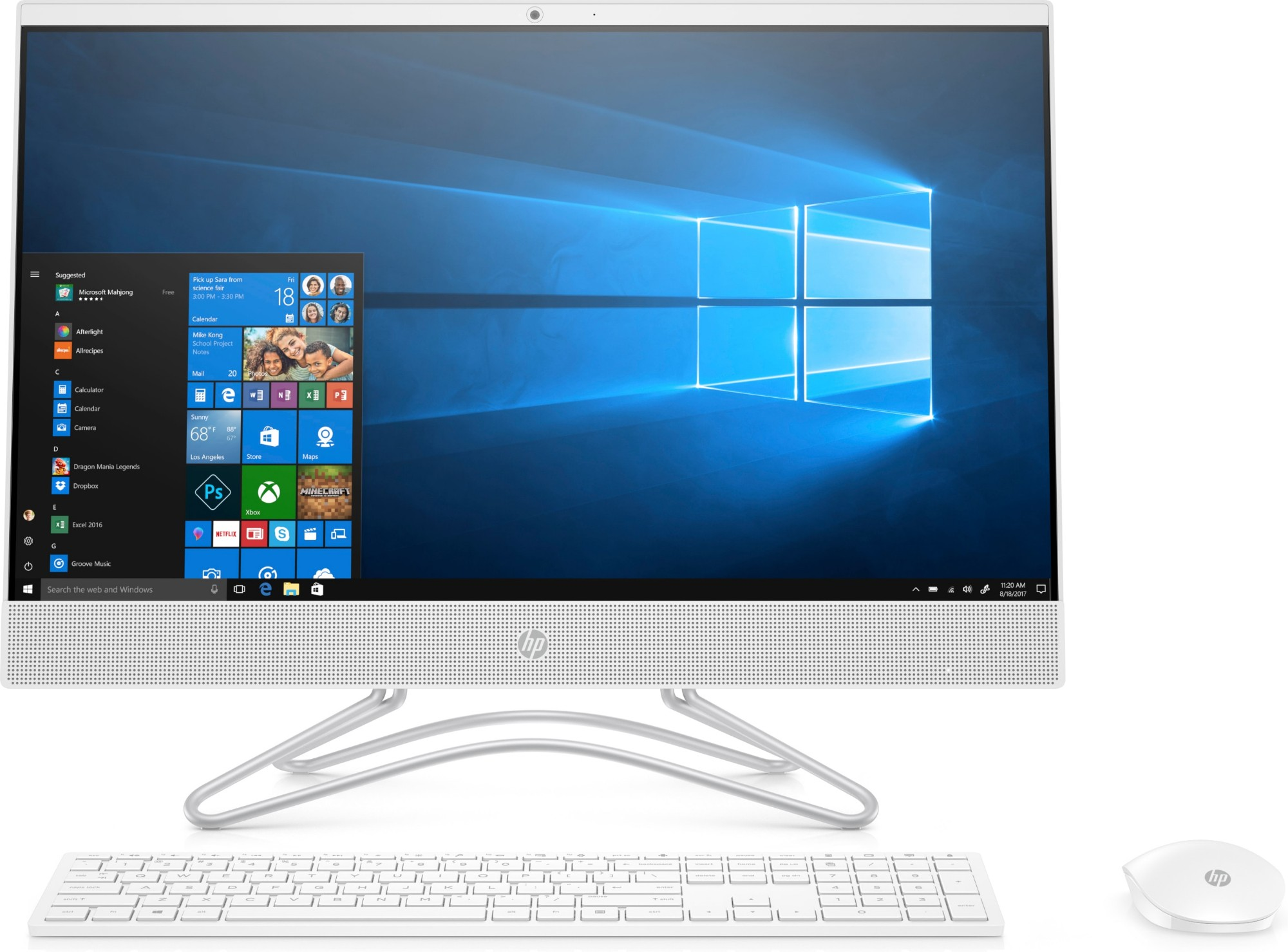 """HP 24-f0044na 60.5 cm (23.8"""") 1920 x 1080 pixels 9th gen Intel® Core™ i7 8 GB DDR4-SDRAM 2256 GB HDD+SSD White All-in-One PC"""