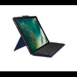 Logitech Slim Combo Smart Connector QWERTZ German Blue mobile device keyboard