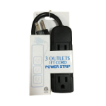 Inland 03885 Indoor 3AC outlet(s) 0.3m Black power extension
